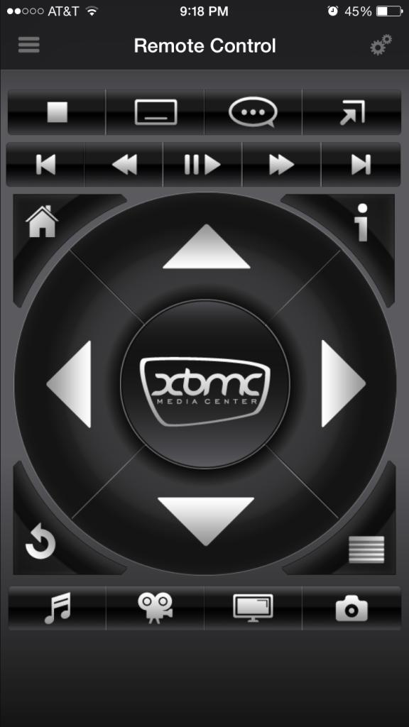 Interface que funciona como control remoto para Kodi.